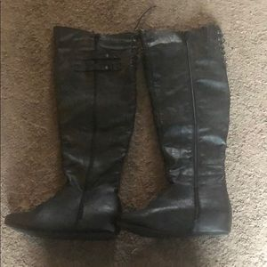 Shoes - Long black boots no heel women's size 8.5
